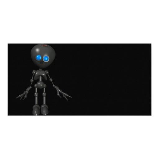 Robot Bionic del muchacho 3D - mirando adelante Tarjeta Fotografica Personalizada