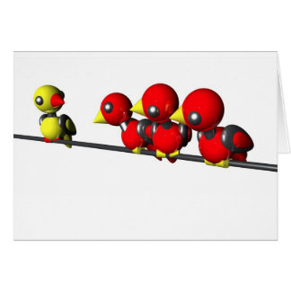 ROBOT BIRDS ON A WIRE STATIONERY NOTE CARD