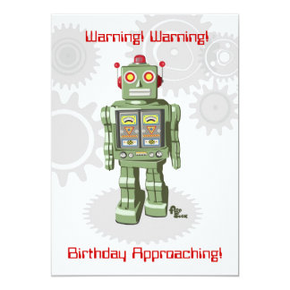 "Robot Birthday Invitation 5"" X 7"" Invitation Card"