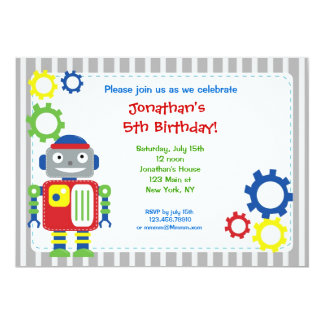"Robot Birthday Invitations 5"" X 7"" Invitation Card"