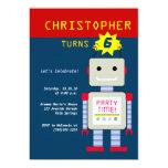 "Robot Birthday Invitations 5"" X 7"" Invitation Card"