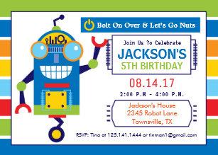 Robot birthday invitations announcements zazzle robot birthday party invitation filmwisefo