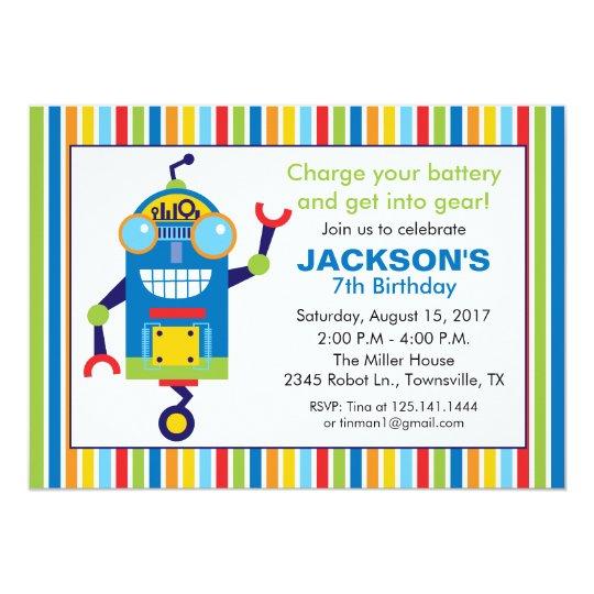 robot birthday party invitation zazzle com