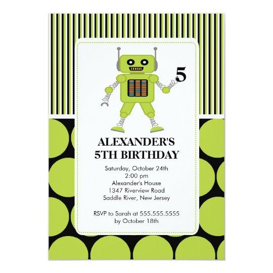 Robot Birthday Party Invitation Lime / Black