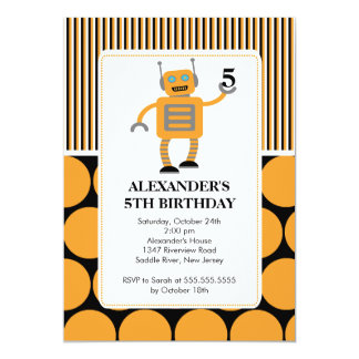 "Robot Birthday Party Invitation Orange / Black 5"" X 7"" Invitation Card"