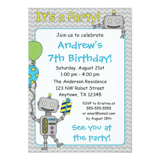 "Robot Birthday Party Invitations 5"" X 7"" Invitation Card"