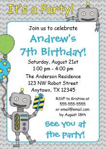 Robot birthday invitations announcements zazzle robot birthday party invitations filmwisefo Gallery