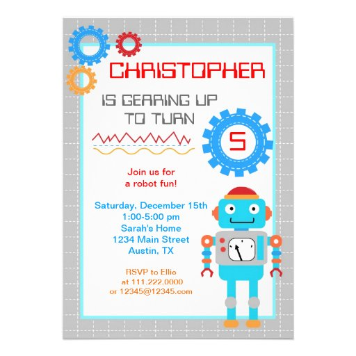 Personalized robot baby shower invitations custominvitations4u robot birthday party invitations filmwisefo Images