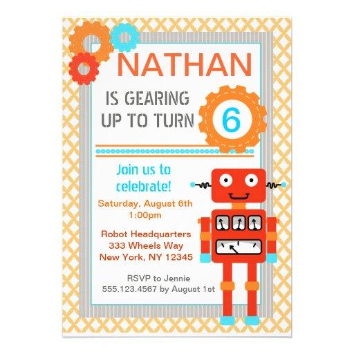 Robot Birthday Party Invitations - Modern