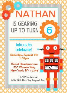 robot birthday invitations zazzle