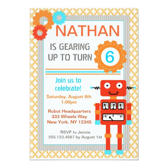 Robot birthday party invitations modern zazzle robot birthday party invitations modern filmwisefo Images