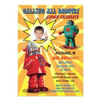 Robot Birthday Party Photo Insert Invitation