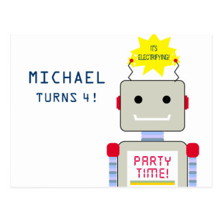 Robot Birthday Party, Postcard Invitations