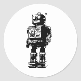 Robot blanco y negro del vintage etiqueta