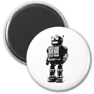 Robot blanco y negro del vintage imán redondo 5 cm