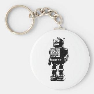 Robot blanco y negro del vintage llavero personalizado