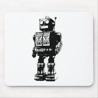 Robot blanco y negro del vintage mousepad