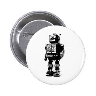 Robot blanco y negro del vintage pin redondo de 2 pulgadas