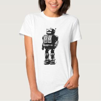 Robot blanco y negro del vintage playera