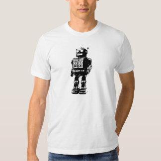 Robot blanco y negro del vintage polera