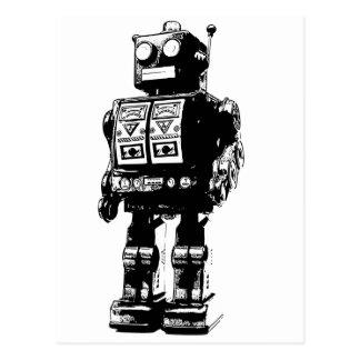 Robot blanco y negro del vintage postal