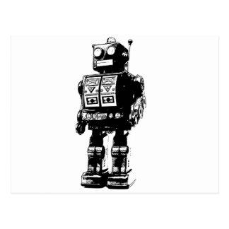 Robot blanco y negro del vintage tarjeta postal