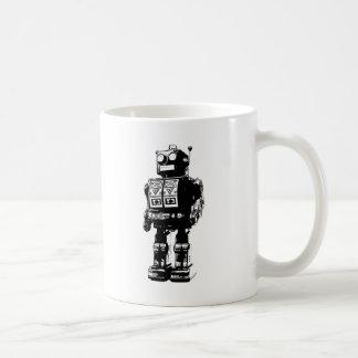 Robot blanco y negro del vintage taza