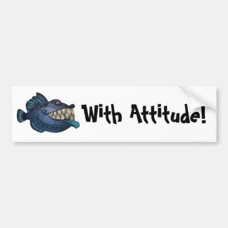 """""""Robot Blue"""" Fish with Attitude Bumper Sticker"""