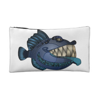 """""""Robot Blue"""" Fish with Attitude Cosmetic Bag"""