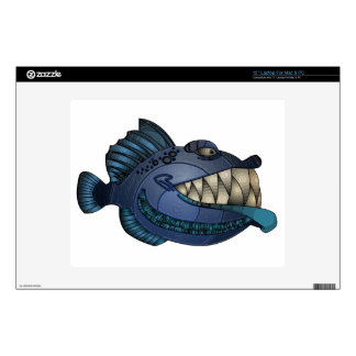 """Robot Blue"" Fish with Attitude Laptop Skin"