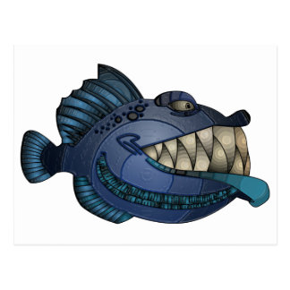 """Robot Blue"" Fish with Attitude Postcard"