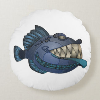 """Robot Blue"" Fish with Attitude Round Pillow"