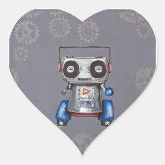 Robot Boomer Heart Sticker
