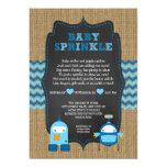 ROBOT BOY baby sprinkle / burlap chalkboard RUSTIC Card