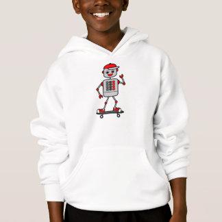Robot Boy on Skateboard Illustration Hoodie