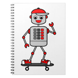Robot Boy on Skateboard Illustration Spiral Notebook