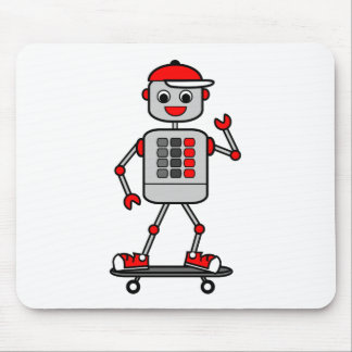 Robot Boy on Skateboard Vector Graphics Mouse Pad