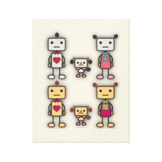 Robot Boy Robot Girl Robot Dog Gallery Wrapped Canvas