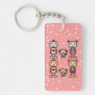 Robot Boy, Robot Girl, Robot Dog on Pink Flowers Keychain
