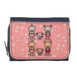 Robot Boy, Robot Girl, Robot Dog on Pink Flowers Wallets