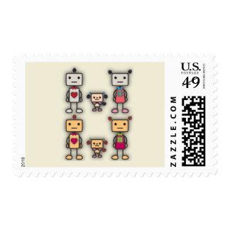 Robot Boy, Robot Girl, Robot Dog Postage Stamps