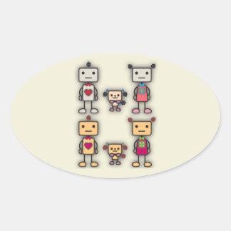 Robot Boy, Robot Girl, Robot Dog Oval Sticker