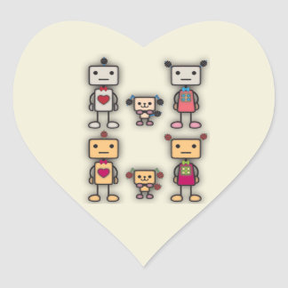 Robot Boy, Robot Girl, Robot Dog Heart Sticker