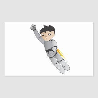 Robot boy rectangular stickers