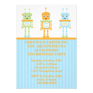 Robot Boys Birthday Party Custom Announcement