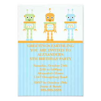 Robot Boys Birthday Party 5x7 Paper Invitation Card