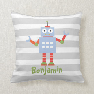 Robot Boys Nursery Room Decor Personalized Pillow