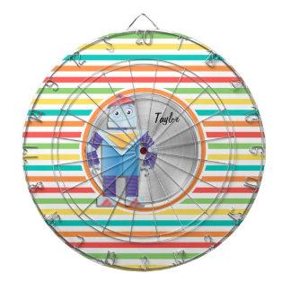 Robot; Bright Rainbow Stripes Dartboards