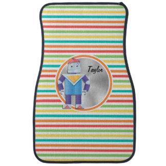 Robot; Bright Rainbow Stripes Floor Mat