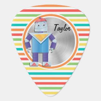 Robot; Bright Rainbow Stripes Guitar Pick